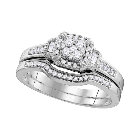 10k White Gold Womens Round Diamond Cluster Bridal Wedding Engagement Ring Band Set 3/8 Cttw