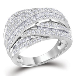 Ladies 10K White Gold Baguette Real Diamond Cocktail Fashion Ring Band 1 1/2 CT