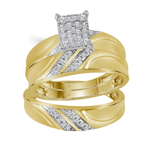 10k Yellow Gold Diamond Cluster Matching Trio His & Hers Wedding Ring Band Set 1/3 Cttw
