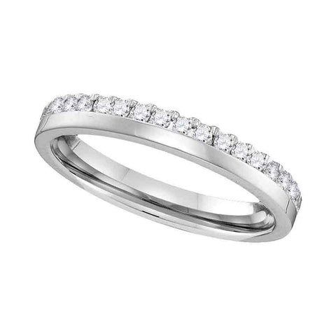 14kt White Gold Womens Round Diamond Band Wedding Anniversary Ring 1/5 Cttw