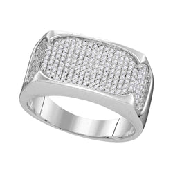 10kt White Gold Mens Round Diamond Rectangle Flat Cluster Ring 1/2 Cttw