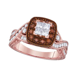 10kt Rose Gold Womens Princess Diamond Cluster Brown Bridal Wedding Engagement Ring 1-3/8 Cttw