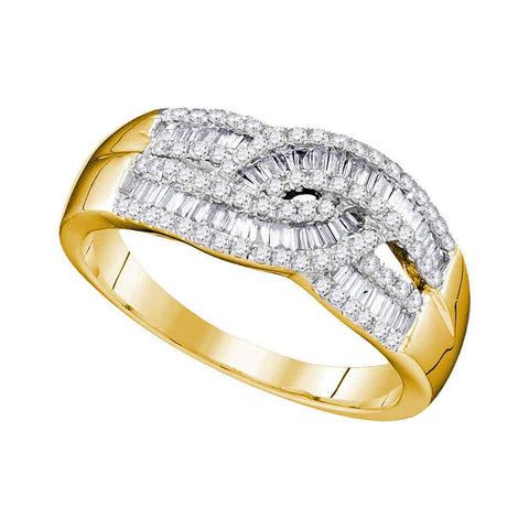 10k Yellow Gold Womens Round Baguette Diamond Cocktail Band Ring 5/8 Cttw
