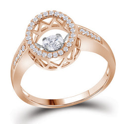 10kt Rose Gold Womens Round Cognac-brown Colored Diamond Solitaire Bridal Wedding Engagement Ring 3/8