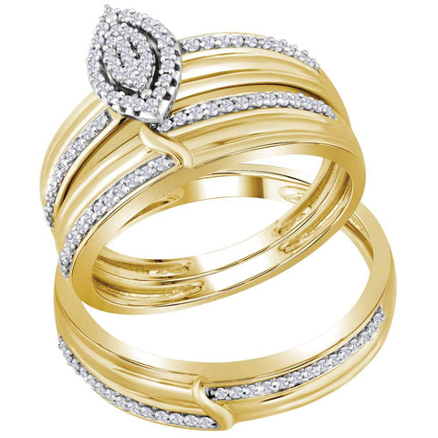 10k Yellow Gold Diamond His & Hers Matching Trio Wedding Engagement Bridal Ring Set 1/3 Ctw