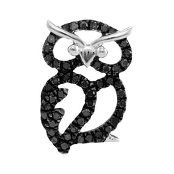 Sterling Silver Womens Round Black Colored Diamond Owl Bird Pendant 1/6 Cttw