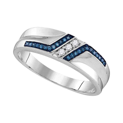 Sterling Silver Mens Round Blue Colored Diamond Wedding Band 1/5 Cttw