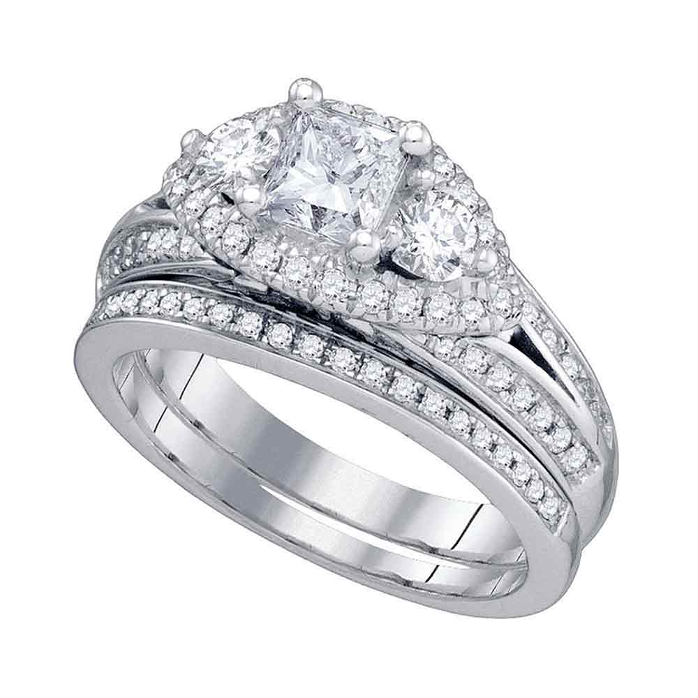 14kt White Gold Womens Princess Diamond Bridal Wedding Engagement Ring Band Set 2-3/4 Cttw