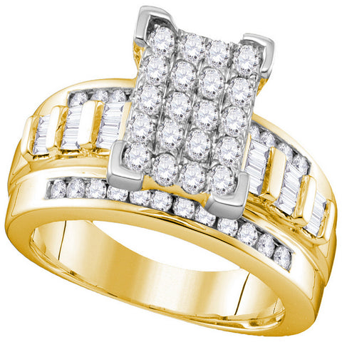 10k Yellow Gold Diamond Cindy's Dream Cluster Bridal Wedding Engagement Ring 2 Cttw - Size 8