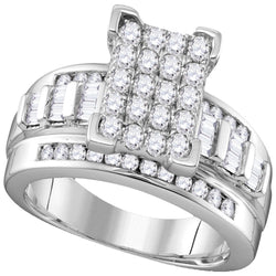10k White Gold Diamond Cindy's Dream Cluster Bridal Wedding Engagement Ring 2 Cttw - Size 8