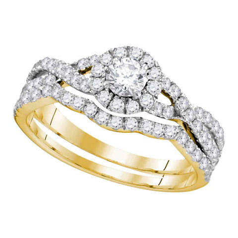 14kt Yellow Gold Womens Diamond Round EGL Bridal Wedding Engagement Ring Band Set 1.00 Cttw