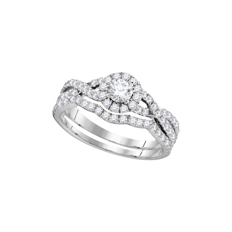 14kt White Gold Womens Diamond Round Bridal Wedding Engagement Ring Band Set 1.00 Cttw (Certified)