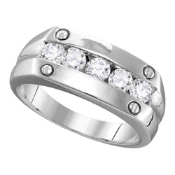 10kt White Gold Mens Round Diamond Screw Band Ring 1.00 Cttw