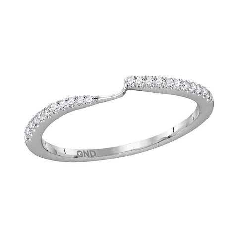 14kt White Gold Womens Round Diamond 2-stone Wedding Anniversary Ring 1/10 Cttw