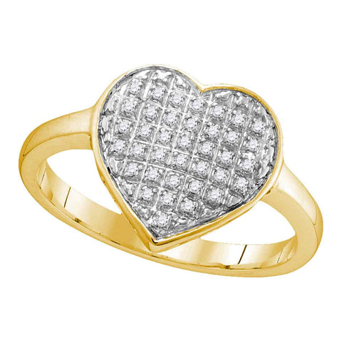 10kt Yellow Gold Womens Round Diamond Heart Love Ring 1/10 Cttw
