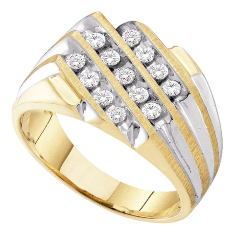 10K Gold Two Tone Mens 3 Row Channel Diamond Wedding Engagement Pinky Ring 1/ CT