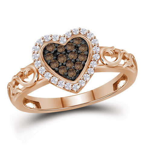 10kt Rose Gold Womens Round Cognac-brown Colored Diamond Heart Love Ring 1/4 Cttw