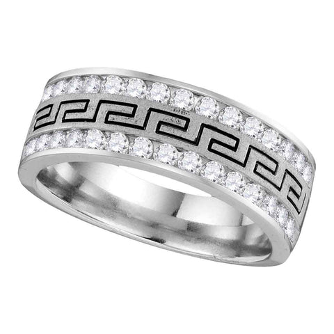 14kt White Gold Mens Round Diamond Grecco Band Wedding Anniversary Ring 1/4 Cttw