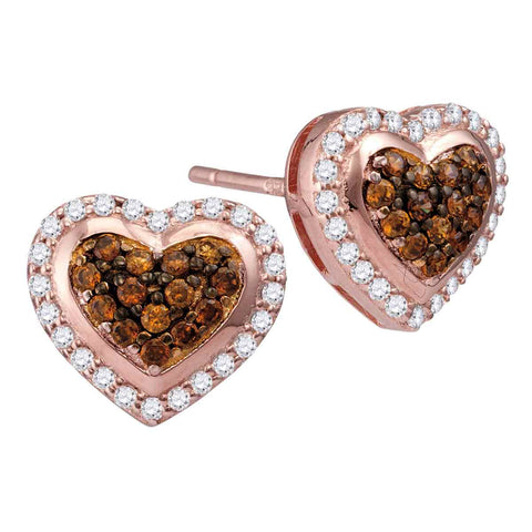 10kt Rose Gold Womens Round Cognac-brown Colored Diamond Heart Cluster Screwback Earrings 1/2 Cttw
