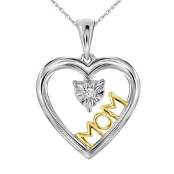Sterling Silver Womens Round Diamond Moving Twinkle Solitaire Two-tone Mom Heart Pendant .02 Cttw