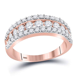 14kt Rose Gold Womens Round Cognac-brown Colored Diamond Band Ring 1.00 Cttw