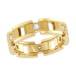 14kt Yellow Gold Mens Round Diamond Link Chain Wedding Band Ring 1/2 Cttw