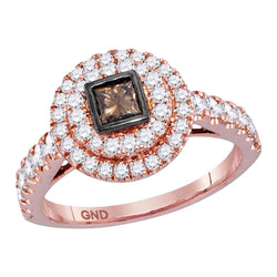 14kt Rose Gold Womens Princess Cognac-brown Diamond Bridal Wedding Engagement Ring 1.00 Cttw