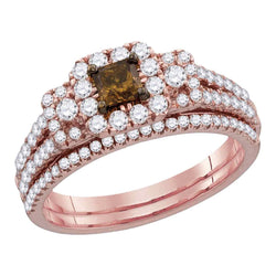 14kt Rose Gold Womens Cognac-brown Diamond Princess Halo Bridal Wedding Engagement Ring Band Set 1-1/12 Ctw