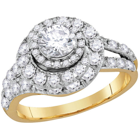 14k Yellow Gold Womens Certified Round Diamond Engagement Bridal Wedding Ring 2.00 Cttw