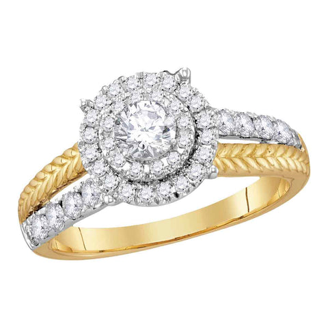 14kt Yellow Gold Womens Round Diamond Round EGL Bridal Wedding Engagement Ring 1.00 Cttw