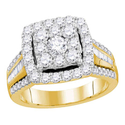 Bridal 10K Yellow Gold Halo Cluster Baguette Diamond Wedding Engagement Ring 2CT