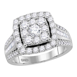 Bridal 10K White Gold Halo Cluster Baguette Diamond Wedding Engagement Ring 2 CT