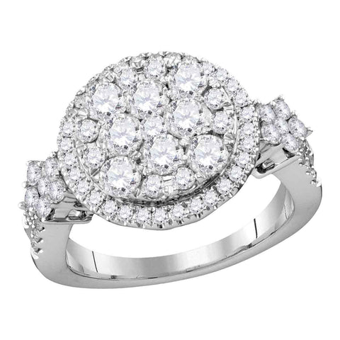 14kt White Gold Womens Round Diamond Cluster Bridal Wedding Engagement Ring 2.00 Cttw