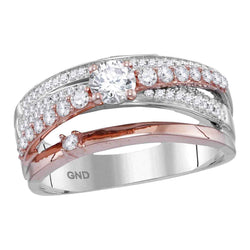 14kt Two-tone Rose Gold Womens Round Diamond Crossover Cocktail Ring 3/4 Cttw
