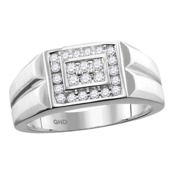 10kt White Gold Mens Round Diamond Rectangle Cluster Ring 3/8 Cttw