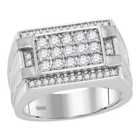 14kt White Gold Mens Round Diamond Square Cluster Ring 1.00 Cttw