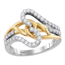 Ladies 10K Gold Two Tone Infinity Knot Love Diamond Fashion Ring Band 1/2 CT