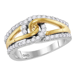 Ladies 10K Gold Two Tone Knot Unity Love Bond Real Diamond Ring Band 1/2 CT