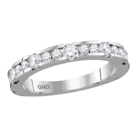 14kt White Gold Womens Machine-set Round Diamond Band Wedding Anniversary Ring 3/4 Cttw