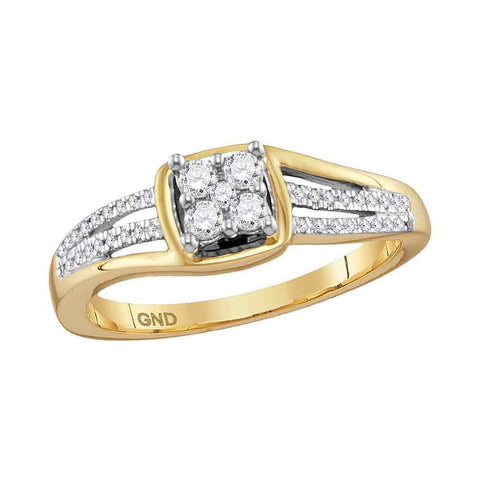 10kt Yellow Gold Womens Round Diamond Square Cluster Ring 1/4 Cttw