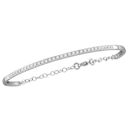 10kt White Gold Womens Round Diamond Promise Bangle Bracelet 1/2 Cttw