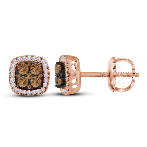 10kt Rose Gold Womens Round Cognac-brown Colored Diamond Square Cluster Earrings 1/2 Cttw