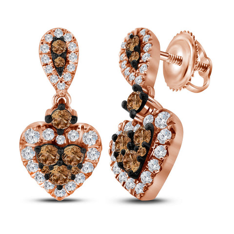 10kt Rose Gold Womens Round Cognac-brown Colored Diamond Heart Dangle Earrings 1.00 Cttw