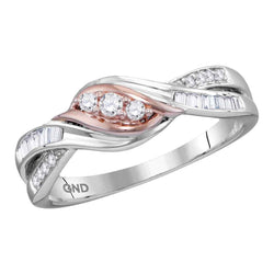 10kt Two-tone Gold Womens Round Diamond 3-stone Bridal Wedding Engagement Ring 1/5 Cttw