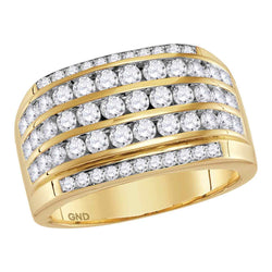 14kt Yellow Gold Mens Round Diamond Striped Wedding Anniversary Band Ring 2-1/3 Cttw
