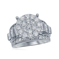 10kt White Gold Womens Round Diamond Cluster Bridal Wedding Engagement Ring 3.00 Cttw