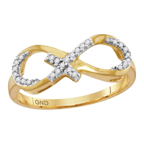 10kt Yellow Gold Womens Round Diamond Infinity Cross Band Ring 1/10 Cttw