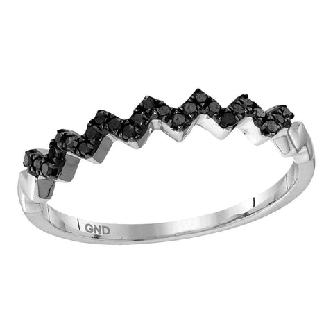 10kt White Gold Womens Round Black Colored Diamond Chevron Band Ring 1/8 Cttw