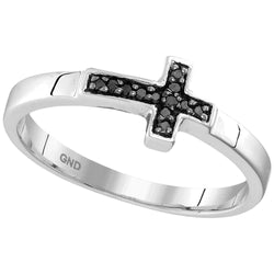 Sterling Silver Womens Round Black Colored Diamond Christian Cross Band Ring 1/20 Cttw