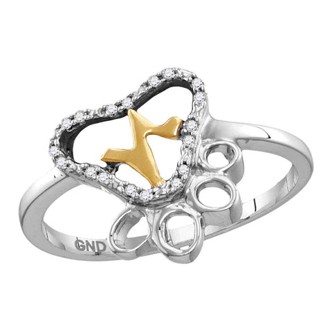Sterling Silver Womens Round Diamond Paw Print Yellow-tone Heartbeat Cluster Ring 1/20 Cttw